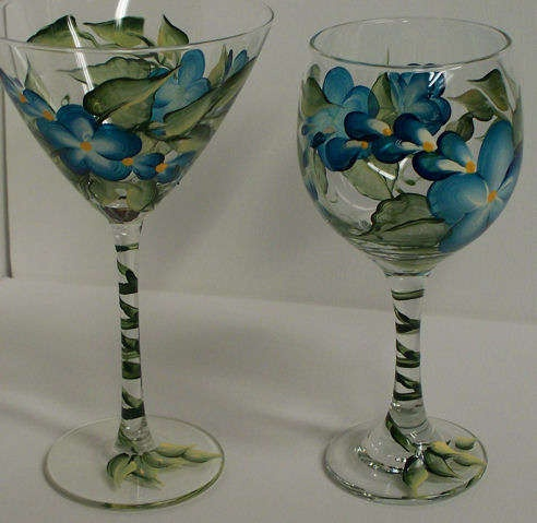 Painting flowers on glass creative projects pinterest for How to make painted wine glasses