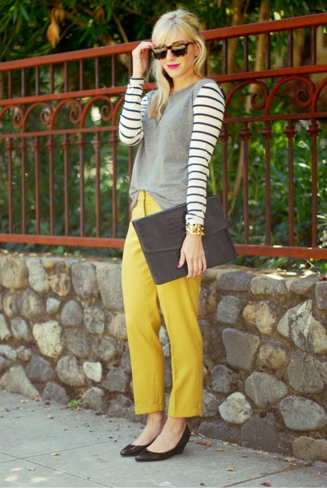 I have yellow pants sitting in my closet and I want to wear them without looking like a bumble bee.  This is perfect!