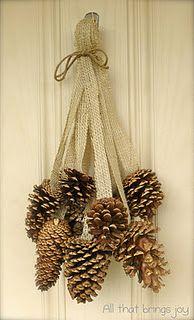 Pine Cone Burlap Jingle Bell Door Hanger