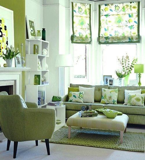 Sala decoración blanca y verde primavera