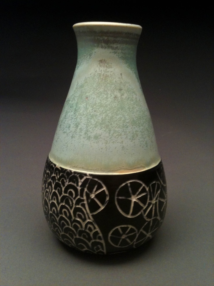 Vase with patterns sgraffito pottery ceramics pinterest for Pottery patterns