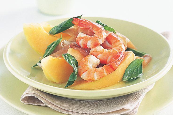 Arrange the rockmelon, prawns, prosciutto and basil on serving plates ...