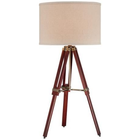 Cherry finish wood surveyor tripod table lamp for Surveyors floor lamp wood