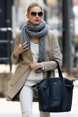 style...this woman has it !  Love her outfit ! Tan blazer, grey scarf over winter white pants