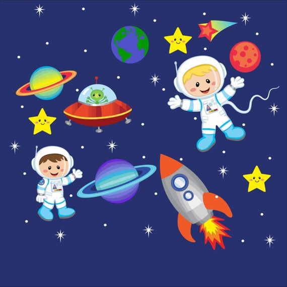 Outer space wall decals bedrooms children pinterest for Space wallpaper for kids room