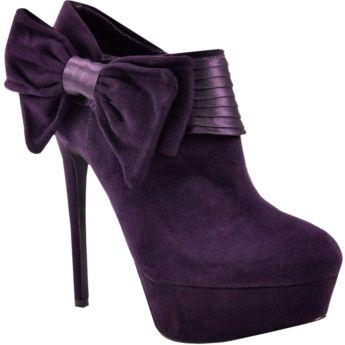 Purple bow booties
