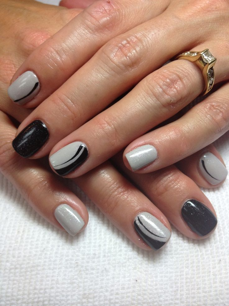grey shellac w black shellac design nails by dusty myamore