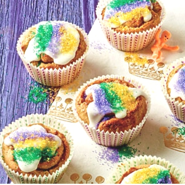 King cake cupcakes | cupcakes | Pinterest