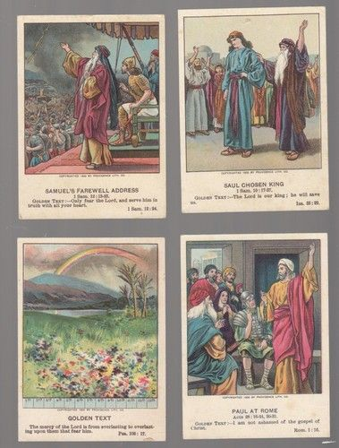 Circa 1903 Little Pilgrim Lesson Picture Cards of Bible Scenes