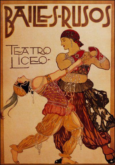 "Poster for Vera Fokina & Mikhail Fokin in the Ballet Russes ""Scheherazde"", Stockholm, 1914. Artist Unknown"