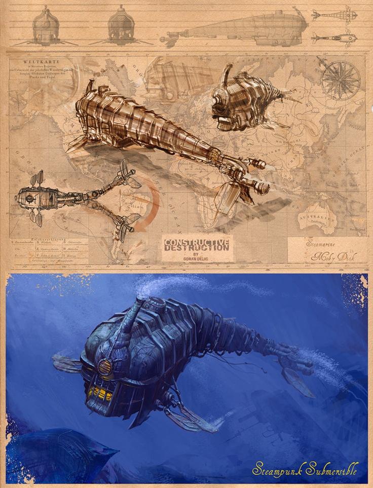 Steampunk Submersible by Goran Delic #nautilus