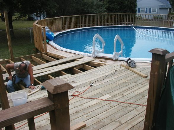 Above Ground Pools Decks Idea   to above ground pool, We connected the ...