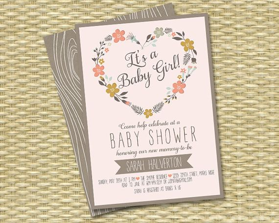 rustic baby shower invitations pinterest