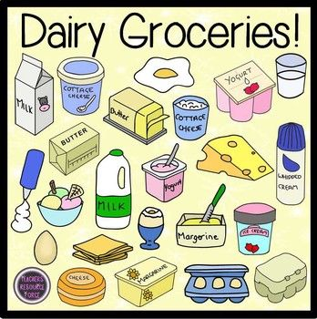 Dairy Groceries Food Clip Art - color and black line