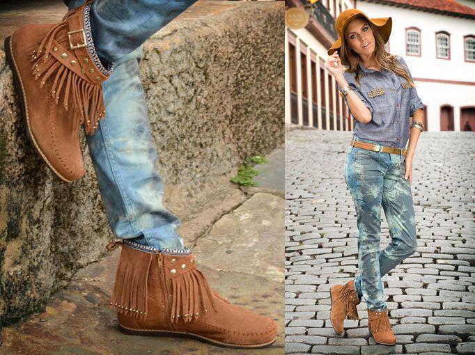 botas com franjas