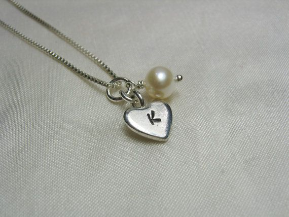 Stamped Heart Initial Charm Necklace by MesmericJewelry on Etsy, $21.50