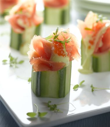 Fresh Cucumber Cups with Smoked Salmon, Wasabi Mayo and Salmon Caviar ...