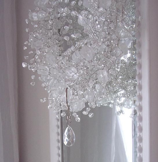 Romantic shabby crystal clear teardrop shower curtain for Shabby chic rhinestone shower hooks