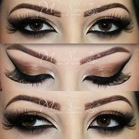gold eyeshadow for brown eyes make up pinterest
