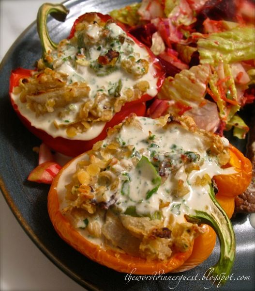 Lentil and Wild Rice Stuffed Bell Peppers with Basil Tahini Sauce ...