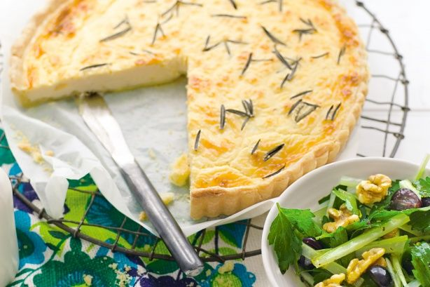 Goat's cheese and rosemary tart with grape, celery & walnut salad