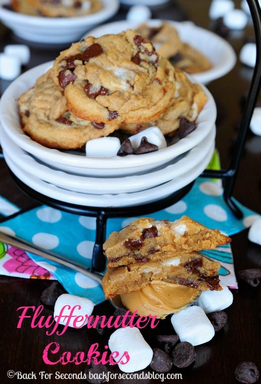 Fluffernutter Cookies - Soft, chewy, and gooey delicious! #cookies #dessert #peanutbutterandchocolate
