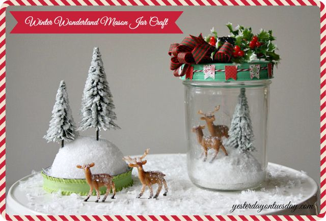 Winter Wonderland Mason Jar Craft #masonjarcraft #masonjars #christmasmasonjarcraft #christmascraft #yesterdayontuesday