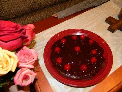 Flourless Cherry Chocolate Cake with Chocolate Glaze Sauce | Recipe