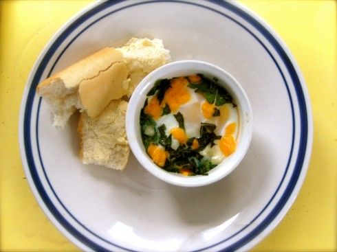 Baked egg with spinach | Breakfast | Pinterest