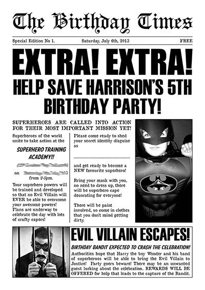 superhero newspaper invitation template - Google Search