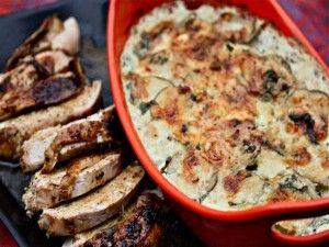 Ancho-Rubbed Turkey Breast With Cilantro-Habanero Potato Gratin