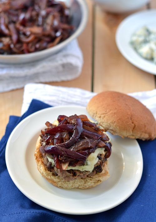 Black Bean Beef Burgers with Blue Cheese and Onion Marmalade