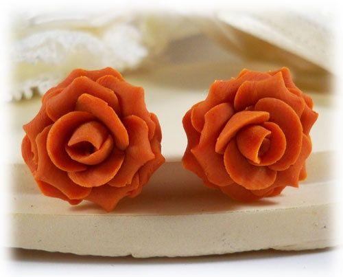 Burnt orange rose earrings oh what to wear pinterest