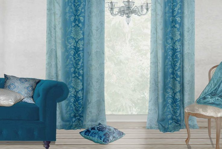 Ombre brocade teal amp gray curtains freestyle floral velvet blue