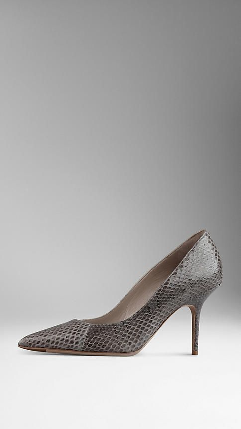 Burberry Point-Toe Snakeskin Pumps