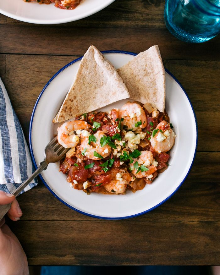 Baked Shrimp with Tomatoes and Feta {whole food recipes}