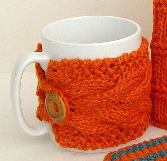 KNITTING PATTERN Coffee Cup Cozy Mug Sleeve with Cable PDF ...