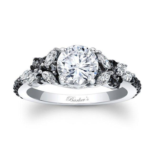 Black Diamond Engagement Ring 7932LBKW cindy