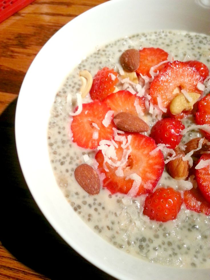 Chia Seeds. Breakfast bowl. Healthy. Coconut.