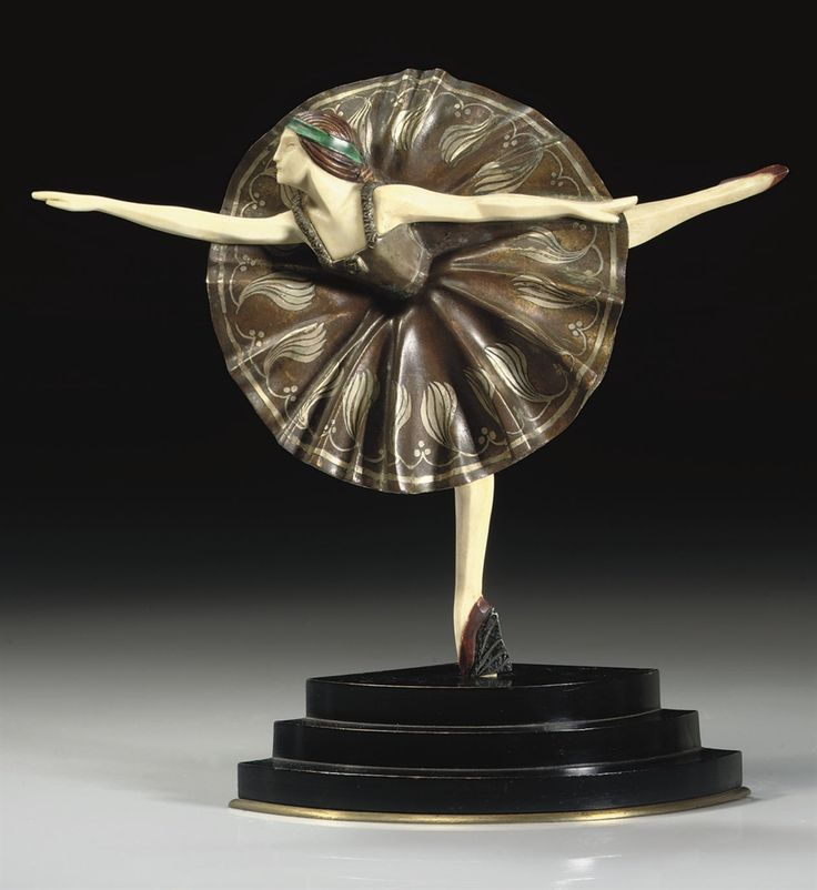 MARCEL-ANDRE BOURAINE | BALLERINA A COLD-PAINTED AND SILVERED-BRONZE AND IVORY FIGURE, CIRCA 1925