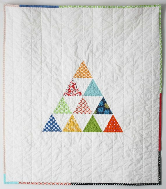 Baby Quilt Patterns With Triangles : Modern baby quilt - Colorful triangle pyramid