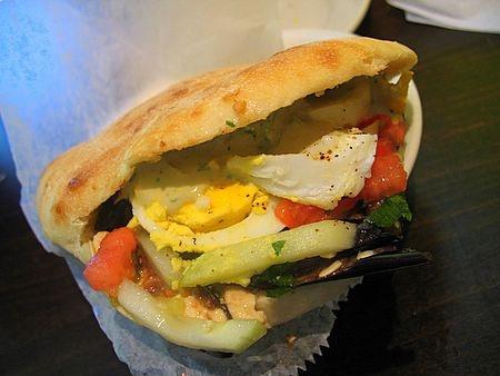 Sabich. An Israeli sandwich made up of hummus, a hard-boiled egg ...