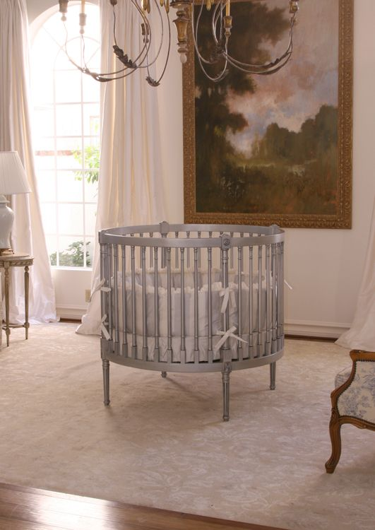 round baby cribs for sale  Empire Round Crib , shown in Silver