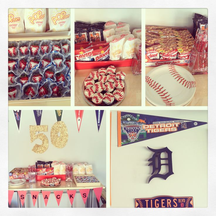 Detroit tigers. 50th birthday. Baseball party. Candy table. Snack ...