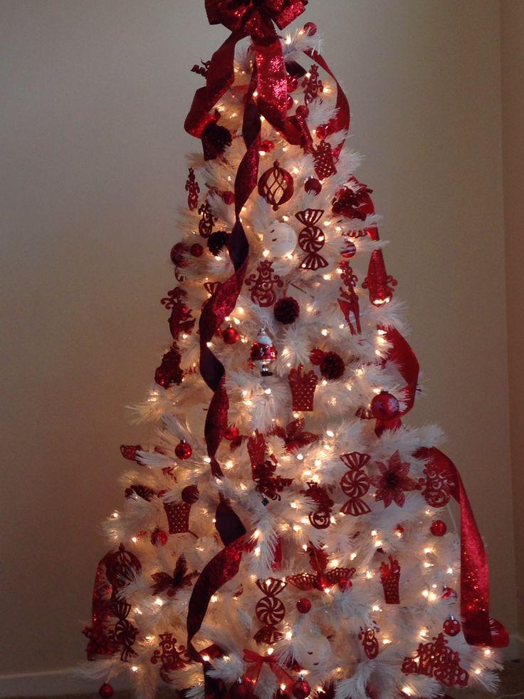 Red and white christmas tree christmas pinterest for White christmas tree pinterest