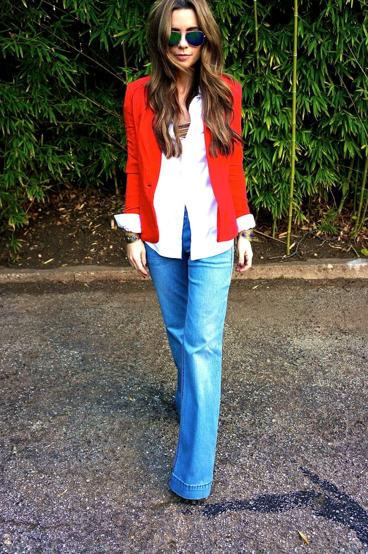 Love that bright red blazer paired with a white button down.