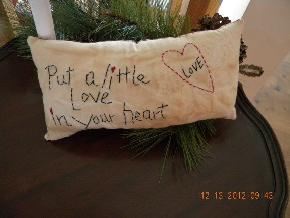 Primitive Valentine Pillow Hand Stitched Cupboard by PrimitiveHart, $10.00