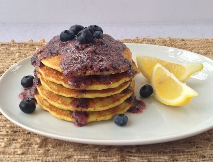 Lemon Poppy Seed Pancakes with Blueberry Maple Syrup (vegan + gluten ...