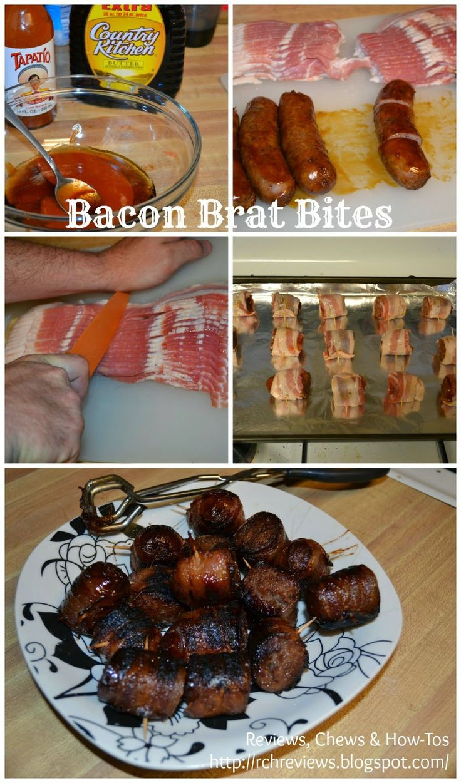 Reviews, Chews & How-Tos: Bacon Wrapped Bratwurst Bites