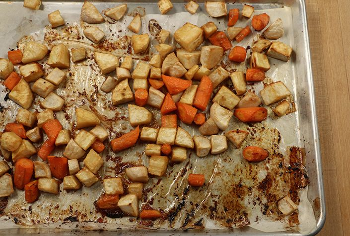 Miso Maple Roasted Root Vegetables